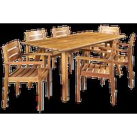 GDF Studio 7-Piece Renee Outdoor Acacia Wood Dining Set