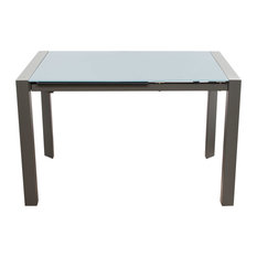 Diamond Sofa   Carbon Glass Top Extension Dining Table With Metal Frame   Dining  Tables