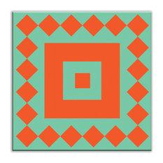 "4.25""x4.25"" Folksy Love Satin Decorative Tile, Checkers Red/Orange-Green"