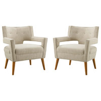 Sheer Upholstered Fabric Armchair Set of 2, Sand