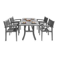 Renaissance Outdoor Patio Hand-scraped Wood 5-Piece Dining Set, Stacking Chairs