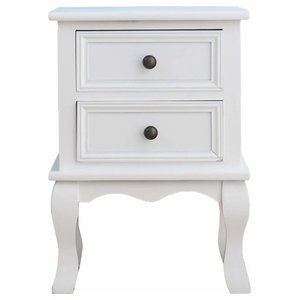 Traditional Bedside Table With Curved Legs and 2 Storage Drawers