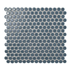 "12""x12.63"" Penny Porcelain Mosaic Floor/Wall Tile, Blue-Gray"