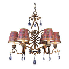 Lincold Bronze 5-Light Chandelier With Crystals and Shades