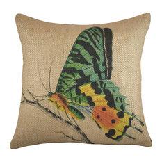 Butterfly Burlap Pillow