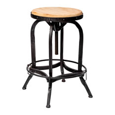 GDFStudio - Industrial Adjustable Height Swivel Seat Stool - Bar Stools and Counter Stools
