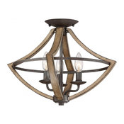 3-Light Semi Flush Rustic Black