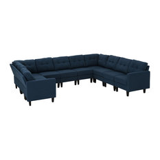 GDF Studio 10-Piece Niya Mid Century Modern Fabric U-Shaped Sectional Sofa Navy