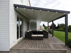 High Quality ... The Manufactureer Is, But We Manufacture A Waterproof Retractable Awning  That Can Span Openings Of This Size; Similar To The Design Of This Product.