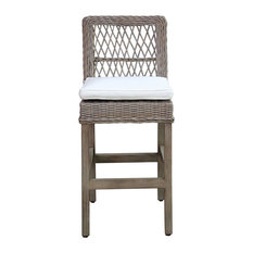 Panama Jack Seaside Barstool With Cushion, Sunbrella Canvas Vellum