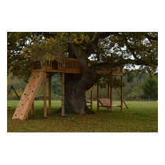 Gangplank though the branches of the treehouse in Somerset