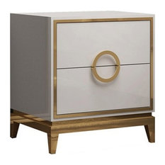 Bedroom Nightstand with 2 Drawers Square Beside Table Wood & Stainless Steel, Wh