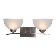 Alta Peak 2-Light Vanity, Satin Steel