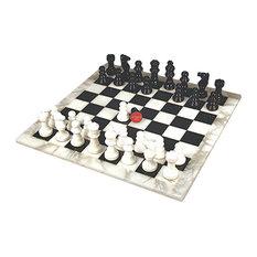 Black and White Alabaster Chess Set