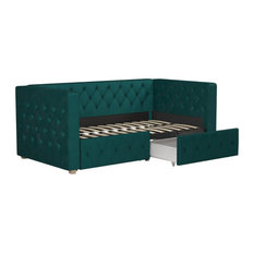 Charlotte Upholstered Daybed With Storage, Green, Twin