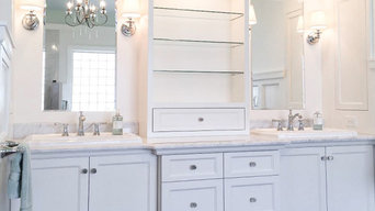 Custom Painted Cabinetry and Tile Shower