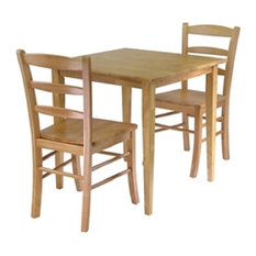 3-Piece Wood Dining Set Light Oak Finish