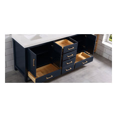 Willow Collections Malibu Bathroom Vanity with 2 in Top Navy Blue 60 X 22 Doub