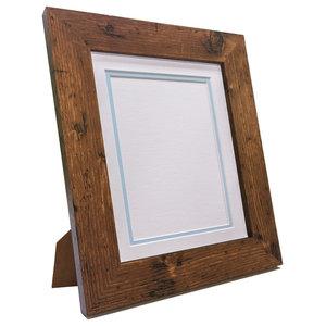 "Brix Frame, Vintage Wood, White on Blue Double Mount, 6x4"", Image 4.5x2.5"""