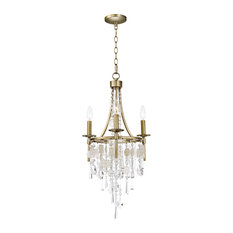 """Chandelier 3-Light With Capiz Gold Silver, Steel Crystal Shell, 15"""", 180W"""