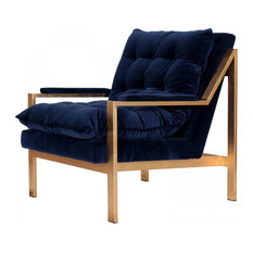 Cameron Gold Navy Arm Chair   Armchairs And Accent Chairs