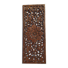 Asiana Home Decor   Floral Wood Carved Wall PanelWood Wall Art Large Wood  Wall Plaque 35.5