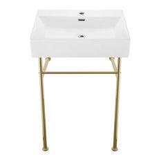 "Claire 24"" Ceramic Console Sink White Basin Gold Legs"