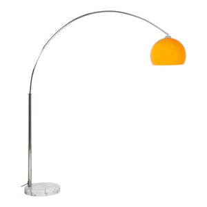 Brooklyn Loft Chrome Arched Lamp, Orange