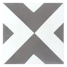 Diamond Pattern Gray White Concrete Tile, Set of 13, 8x8