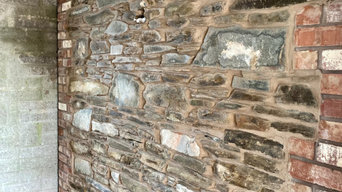 Feature wall in bathroom, old, reclaimed stone
