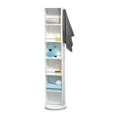 Swivel Storage Wood Cabinet Organizer Tower White Linen Tower Mirror