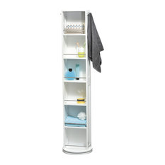 Swivel Storage Wood Cabinet Organizer Tower White Linen Tower, Mirror