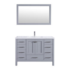 Eviva Aberdeen 42-inch Transitional Grey  Vanity With White Carrera Countertop