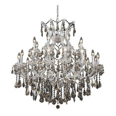 Elegant Maria Theresa Dining Room Light, Chrome Finish With Royal Cut Crystal