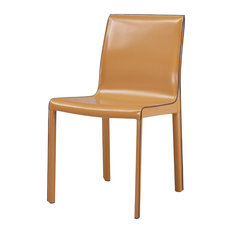 Gervin Recycled Leather Chair, Set of 2, Chestnut