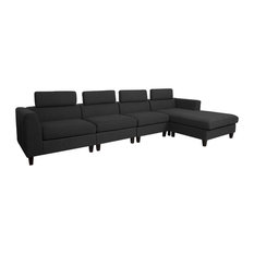 GDFStudio   Millie Modern Fabric Extended Deep Seated Chaise Sectional,  Dark Charcoal   Sectional Sofas