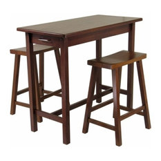 3-Piece Kitchen Island Set; Table With 2 Drawers And Saddle Stools