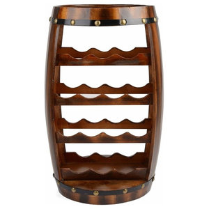 Traditional Barrel Wine Rack, Brown Finished Solid Wood, 14-Bottle Capacity