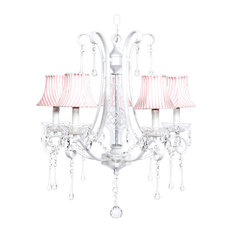5-Light White Colleen Chandelier With Striped Shades