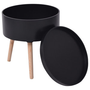 VidaXL Side Table With Serving Tray Round, Black