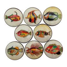 Strange Antique Fish Cabinet Knobs, 8-Piece Set