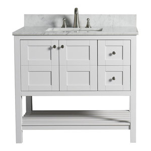 "WoodBridge 36"" Solid Wood Vanity With Carrera White Marble Top, Right Drawer"