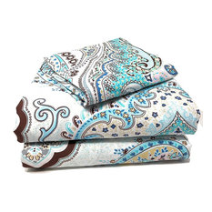 Pattern Flat Sheets, White and Blue Paisley, Queen
