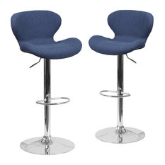 Set Of 2 Swivel Bar Stools Polyester Upholstered Seat With Mid Back Blue