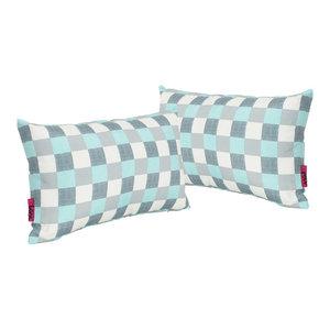 GDF Studio Raylan Indoor Rectangular Throw Pillow, Blue/White Plaid, Set of 2