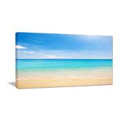 """""""Bright Blue Tropical Beach"""" Seashore Canvas Photo Print, 1 Panel, 60""""x28"""""""