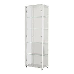 Vitrine White Display Cabinet, 2 Door, 4 Shelves
