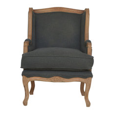 French Upholstered Wing Arm Chair, Sunbleach