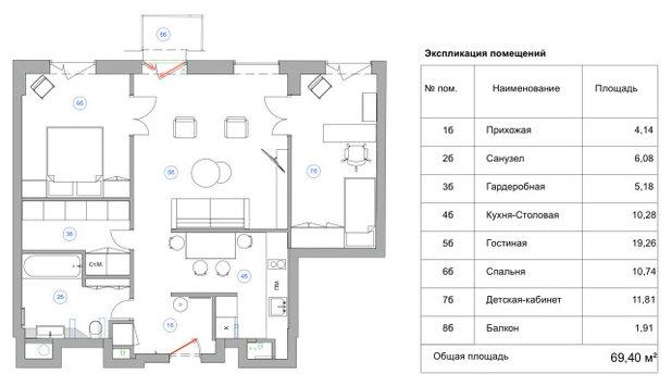 Поиск планировки: 5 вариантов + финал для двушки с ярким ковром