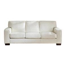 Kimberlly Leather Craft Sofa, Ivory White